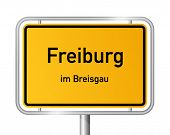 City limit sign Freiburg im Breisgau - signage - Germany