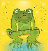 Green frog holding arrow