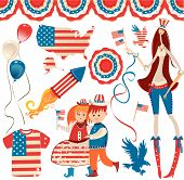 Fourth of July Patriotic Design Set.