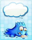 Illustration of a blue monster writing with an empty cloud callout