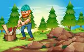 Illustration of a woodman chopping the woods near the rocks