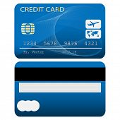 Credit card isolated on white background. Vector illustration.