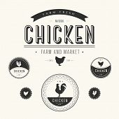 Set Of Chicken Farm  And Market Labels