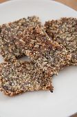 stock photo of flaxseeds  - Whole Grain Crispbread with sunflower seeds - JPG