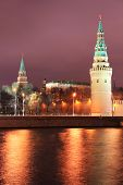 Night view to the Kremlin and the river in Moscow, Russia
