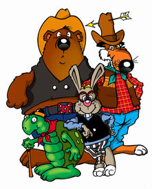 foto of the hare tortoise  - Funny cartoon cowboy animals of american folklore - JPG