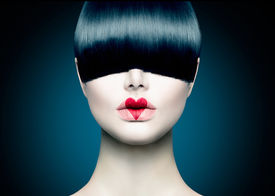 pic of japan girl  - High Fashion Model Girl Portrait with Trendy Fringe Hair style and Red Heart lips Makeup - JPG