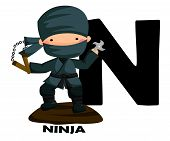 image of ninja  - the letter N for thw word ninja - JPG