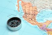 Travel Destination Mexico, Map With Compass