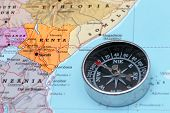 Travel Destination Kenya, Map With Compass