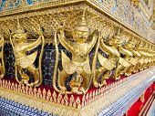 The Golden Garuda Statues At Grand Palace Or Temple Of The Emerald Buddha