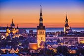 Tallinn, Estonia at sunset.