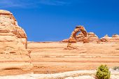 stock photo of turret arch  - Delicate Arch at Arches National Park Utah USA - JPG