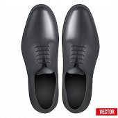Male Fashion Classic Black Shoes. Vector.