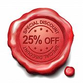 25 Percent Off Red Wax Seal