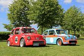 Two Fiat Abarth Racing Cars In A Park