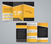 Three Fold Business Brochure Template, Corporate Flyer Or Cover Design In Yellow Colors
