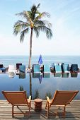 stock photo of beachfront  -  Great review for a luxury beachfront pool - JPG
