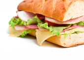 stock photo of baguette  - half of long baguette sandwich with lettuce - JPG