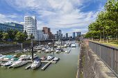Dusseldorf, Germany, on July 6, 2014. Architectural complex of Rhine Embankment in the area Media ha