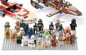 Ankara, Turkey - July 07, 2012: Lego Star Wars minifigures in front of Luke's Landspeeder