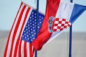 Croatian And American Flags Waving
