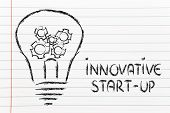 Innovative Start-up, Lightbulb With Gearwheels