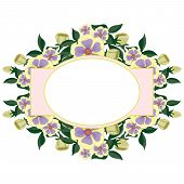 vector beautiful floral oval label