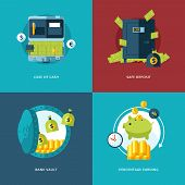 Vector finance and money icons set.