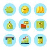 Vector finance and money icon set.