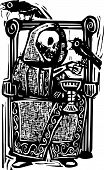 stock photo of throne  - Woodcut style image of the skeleton death drinking wine in a throne with crows or ravens - JPG