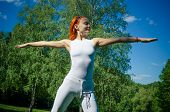 Athlete woman in park