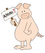 stock photo of latency  - This is a caricature of a pig with AH1N1 placard in the hand - JPG