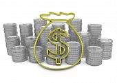 Golden Hoard Of Money Icon With Coins On Background