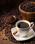Cup Of Black Coffee With Beans