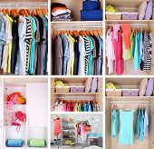 stock photo of wardrobe  - Wardrobe with clothes collage - JPG