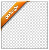 White paper frame and corner ribbon on transparent background. Put your own background image. Vector illustration