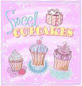 Sweet cupcakes menu design. Eps10