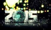 Blue Orb 2015 Snow 3D Bokeh City Background