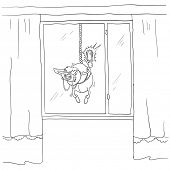 paparazzi photographer hanging on a rope, contour vector illustration