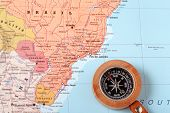 Travel Destination Brazil, Map With Compass