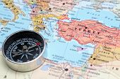 Travel Destination Turkey, Map With Compass