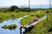 foto of shan  - Boat at Inle Lake in Shan state - JPG