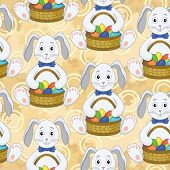 Seamless pattern, Bunnies with Easter eggs
