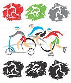 On The Biking Path Icons
