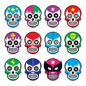 picture of wrestling  - Vector icons set of Mexican wrestling masks on skulls isolated on white - JPG