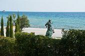 Black Sea Shore With Statue