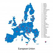 Detailed vector map of European Union and European countries