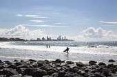Surfers Paradise and surfers viewed from Burleigh Heads