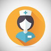Medical Treatment Nurse Symbol Female Physician Icon with long shadow on Stylish Background Modern F